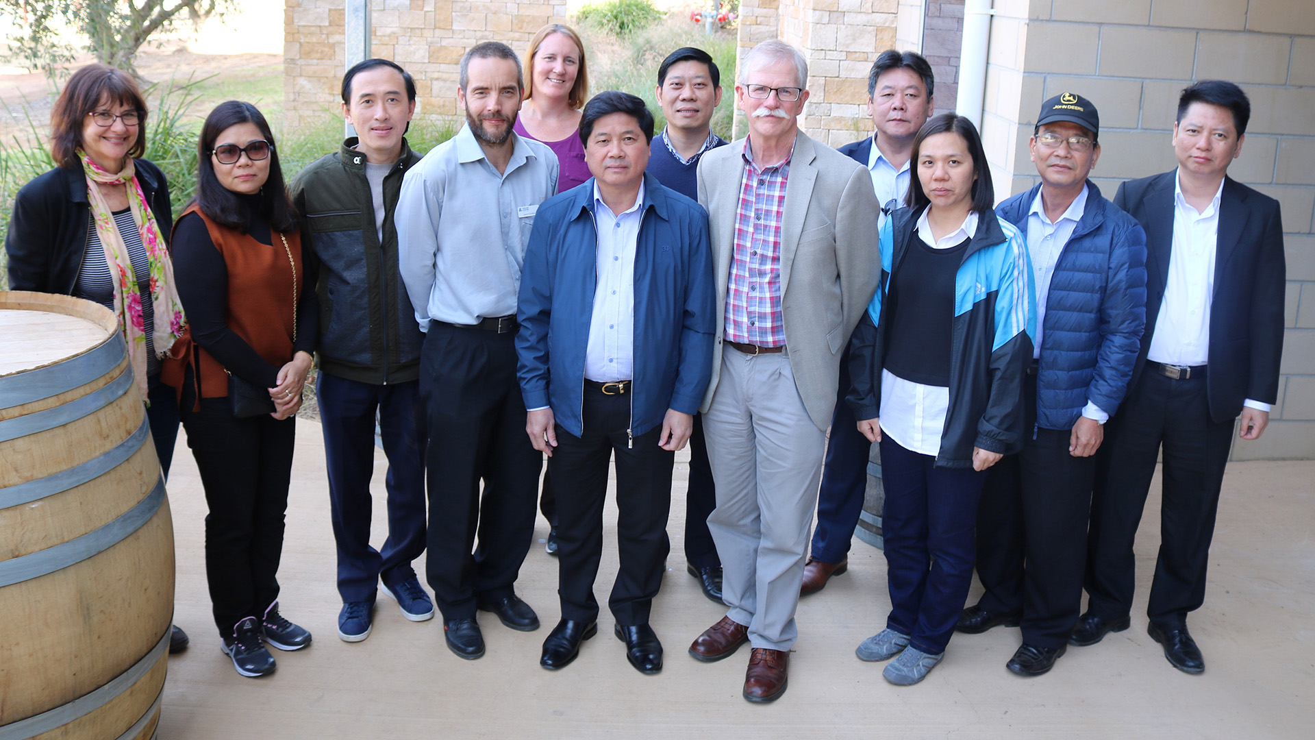 the delegation with Graham Centre members Dr Jason Condon and Professor John Mawson