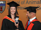 CSU graduate Dr Michaela Woolford, Veterinary Science medal winner. She is with Head of School of Animal and Wine Sciences, Professor Nick Sangster