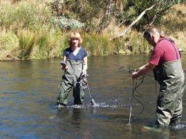 Professor Watts and Dr Zander measuring river flow