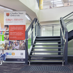 Stairway to Wagga Library study areas and collection