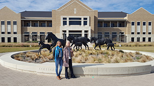 Graham Centre PhD student Ms Cara Wilson and Dr Christine Budke at the vet school at Texas A&M