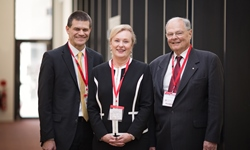 VC Professor Andrew Vann, Chancellor-elect Dr Michele Allan, Chancellor Lawrie Willett
