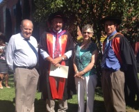 Dr John Broster with his parents and supervisor Assoc Prof Michael Friend