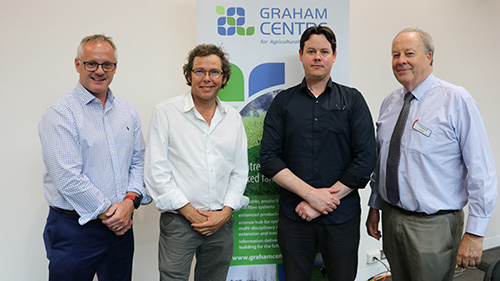 Panel members l-r Dr Carl Ramage Rautaki Soultions, farmer Mark Swift, Dr James Petrie CSIRO and Professor Jim Pratley