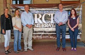 From left to right The Murray Darling Basin Authority education unit, with Dr John Rafferty Cherie Shearer, Clair Bannerman, Dr John Rafferty, Will Inveen (Director Education). Joanna Randall