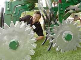 Man inspecting machinery equipment