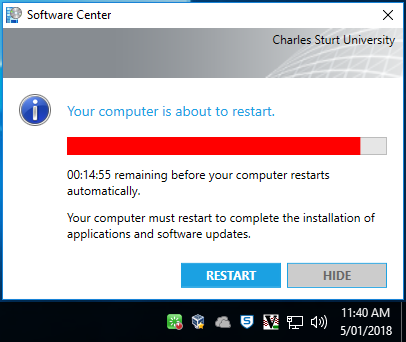Screenshot of prompt warning there is 15 minutes remaining before the computer restarts automatically and showing the progress bar changed to red
