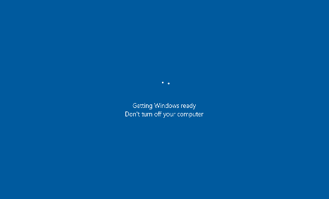 "Screenshot of the message that appears advising ""Getting windows ready. Don't turn off your computer"""