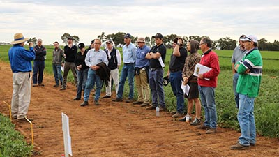 Dr Bill Brown addresses the crowd at the Twilight weed and crop walk
