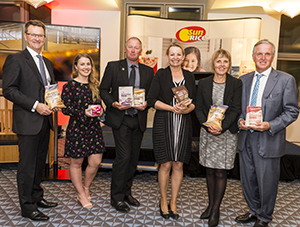 (Left to Right): SunRice CEO Rob Gordon, FGC PhD Student Rachael Wood, Rice Grower Warren Lang, the Hon Susan Ley Member for Farrer, Rice Grower Ali Lang, SunRice Chairman Laurie Arthur.