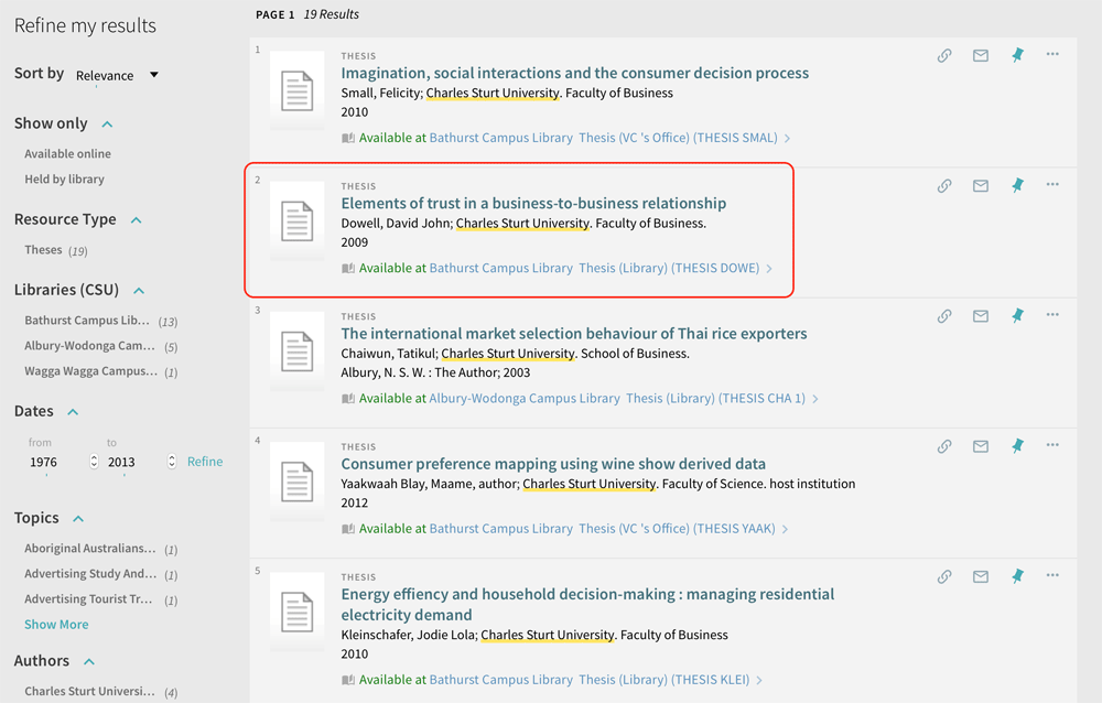 Screen sample of the Primo Search theses search results.