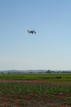 Remote drone flying over a crop
