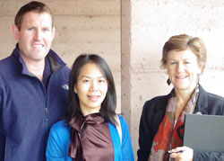 (L to R) Jarrod McPherson (a BEnvScience graduate from CSU), Dr Chittavong, and Dr Joanne Millar